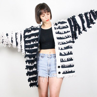 Vintage 80s Jacket Black White FRINGE Jacket Cotton Avant Garde Blazer Jacket Fringed Tassel Jacket New Wave Boho Jacket  M L XL Extra Large
