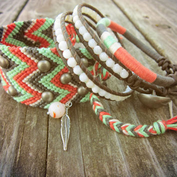 The Bohemian Bracelet Set In Charcoal Coral by NoliePolieOlies