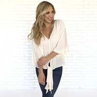 Perfume Cream Knot Blouse
