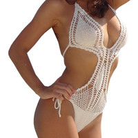 White Cut- Out Crochet Halter One-piece Swimsuit