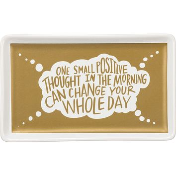 One Small Positive Thought Stoneware Trinket Tray in Gold