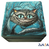 Alice in Wonderland Cat Hand Painted Wooden Box Cheshire Cat Disney Lewis Carroll Gift Jewelry Box Wizard World Keepsake Box Art JaN:)Art