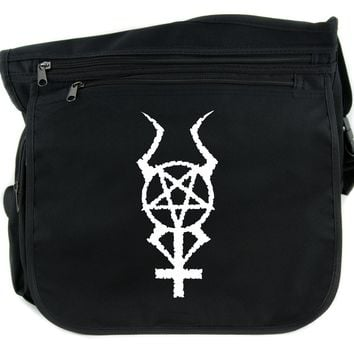 Inverted Horned Pentacross Cross Body Messenger School Bag Occult Cross & Pentagram