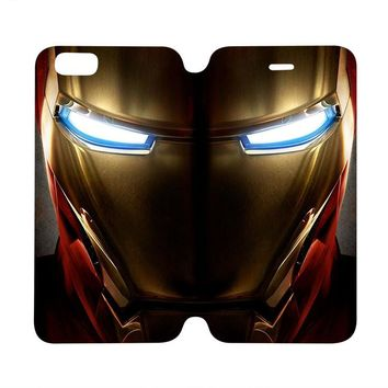 IRON MAN FACE Marvel Wallet Case for iPhone 4/4S 5/5S/SE 5C 6/6S Plus Samsung Galaxy S4 S5 S6 Edge Note 3 4 5