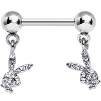 Licensed Clear Gem Dual Playboy Bunny Dangle Nipple Ring | Body Candy Body Jewelry