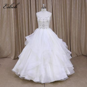 Luxury Full Pearls Crystals Beads Wedding Dress Sweet Heart Ball Gown 2018 Wedding Dresses Tiered Skirt Lace Up back Bridal Gown