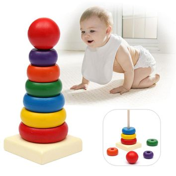 Details about  Baby Toddler Kids Tumbler Pattern Stack Up Toy Rainbow Tower Stacking Ring Toys