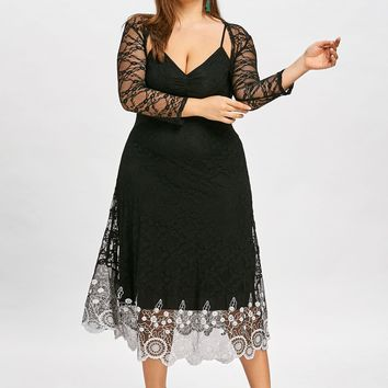 Scalloped Lace Capelet Spaghetti Strap 3/4 Sleeves Summer Slip Elegant Party Dress - Sizes XL-5XL