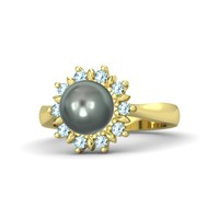 Sphere Tahitian Cultured Pearl 14K Yellow Gold Ring with Aquamarine