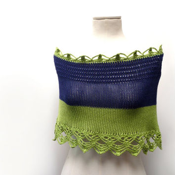 Hand Knit Color Block Cotton Capelet Shrug with Crochet Lace - Lime Green and Blue Shoulder Wrap - Cotton Mini Skirt - Beach Skirt