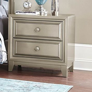 2 Drawers Wooden Night Stand In Contemporary Style Silver
