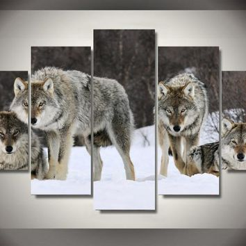 Free shipping 5 panel large HD printed oil painting wolf pack canvas print art home decor wall art picture for living room X009
