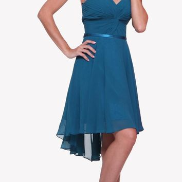 Short Twisted Bodice Chiffon Teal Bridesmaid Dress Strapless