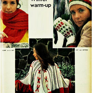 5 PATTERNS Crochet PONCHO Pattern Vintage 70s Christmas Crochet Poncho Pattern Shawl Knitted Mittens Hat Scarf Pattern Bohemian Clothing