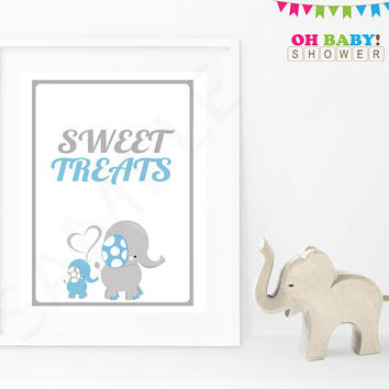 Elephant Baby Shower Sign Blue and Gray Elephant Decor Printable Boy Download Baby Decoration Baby Shower Table Sign Sweet Treats Sign ELLBG