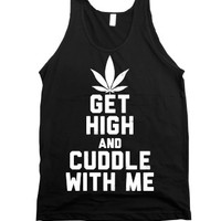 Get High and Cuddle (Dark Tank)-Unisex Black Tank