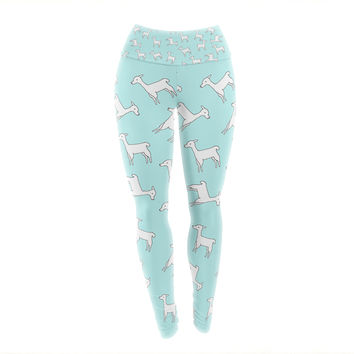 "Monika Strigel ""Baby Llama Multi"" Blue White Yoga Leggings"
