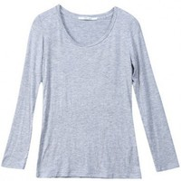 Women New Euro Style Vogue All Matched Pure Color Scoop Slim Light Grey Cotton T-Shirt One Size@WY2026lg $9.81 only in eFexcity.com.