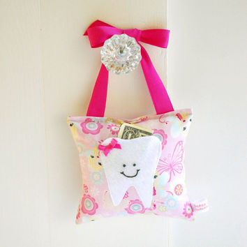 Girls Fairy Princess Tooth Fairy Pillow Tooth Fairy Gift in Pink Sparkle Princess Fabric