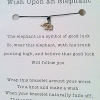 Lucky Elephant Wish Bracelet, Pure Silver  Karen Hill tribe  Elephant Charm