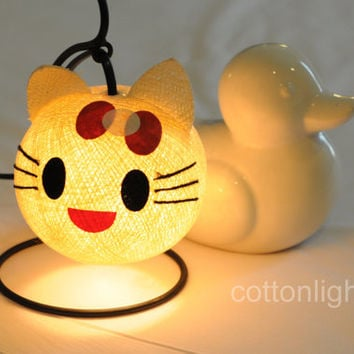 Cartoon kitten cat pussy lantern bed head lamp handmade display light home present decor boy room