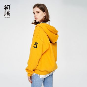Toyouth Tracksuits For Female Hooded Sweatshirts Letter Printed Hoodies Women Fashion Yellow Purple Outwear Zip-Up Sweatshirt