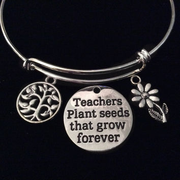Teachers Plant Seeds that Grow Forever Expandable Charm Bracelet Silver Adjustable Bangle Tree and Daisy Flower School Gift