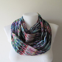 Colorful Infinity Scarf, Aztec Tribal Chiffon Scarf, Women Loop Scarf, Circle Scarf, Fall Winter Spring Summer Fashion, For Her, Mothers Day