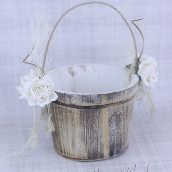 Rustic Flower Girl Basket Paper Roses and Burlap Country Wedding (Item Number 130084)