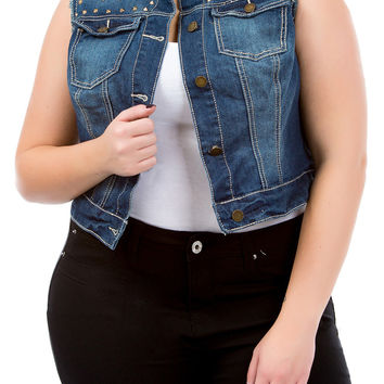 Junior Plus Studded Denim Vest