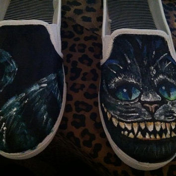 Cheshire Cat, Alice in Wonderland, Hand Painted Flat Shoes Or Custom Order Flat Shoes