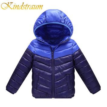 Kindstraum 2017 New Brand Kids Winter Jackets Cotton Casual Hooded Coat for Boys Girls Children Patchwork Colors Outwear, MC811