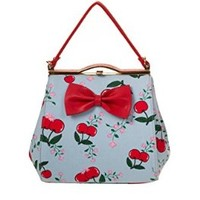 Banned Pinup Lolita Cherries & Flower Red Bow Accent Blue Mini Purse