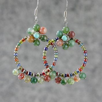Agate flower hoop earrings  Free US Shipping handmade Anni Designs