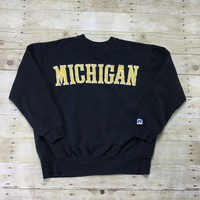 Vintage 90s Michigan University Navy Blue Crewneck Sweatshirt Mens Size Medium