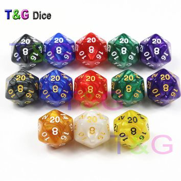 Brand New 10 Pcs/set  D20 Dice for Rpg Dungeons & Dragon 20 Faces Games Dices Rich Colors Desktop Game,for Dnd Game Playing