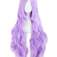 "MapofBeauty 32"" 80cm Light Purple Long Hair Curly Wavy Wig Cosplay Costume Wig"