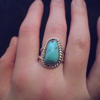 Authentic Navajo,Native American,Southwestern sleeping beauty turquoise nugget ring. Size 7. Can be adjusted.