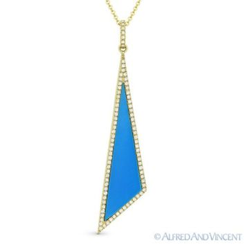 Blue Turquoise & 0.18ct Diamond Pave Pendant & Chain Necklace in 14k Yellow Gold