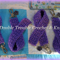 Crocheted Awareness Ribbon Keychains with Charm