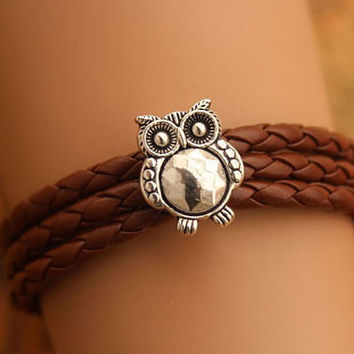 owl bracelet,retro silver SUPER cute owl bead bracelet,brown braid leather bracelet---B239