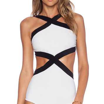 OSKLEN Bicolor Swimsuit in White