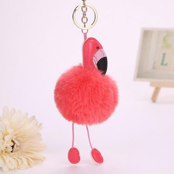 Flamingo Key Ring Pom Pom