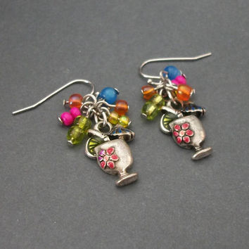 Colorful Tropical Umbrella Drink Dangle Earrings - Beach Party Cocktail Drop Earrings with Silver Tone Hooks - Spring Break Pierced Earrings