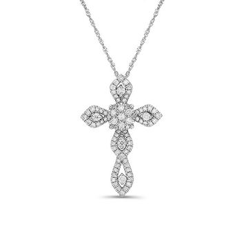 "14k solid white gold .56ctw  diamond cross pendant on an 18"" solid gold chain"