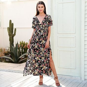 8DESS Deep v neck print long dress women Elegant split ruffle vestidos Casual loose maxi dresses