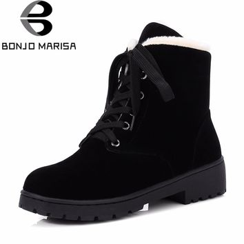 BONJOMARISA Women's Ankle Platform Snow Boots Winter 2018 New Large Size 34-43 lace-up Warm Fur casual Med Heels Shoes Woman