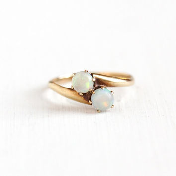 Antique 14k Rose Gold Toi et Moi Opal Gemstone Ring - Size 5.5 Edwardian Early 1900s Fiery Magical Double Stone Fine Jewelry