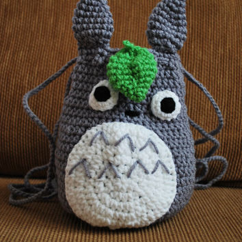 Crochet Totoro Drawstring Bag
