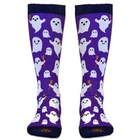 Girls Lacrosse Sublimated Mid Calf Socks Ghosts with Lacrosse Sticks | LuLaLax.com